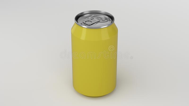 Blank small yellow aluminium soda can mockup on white background stock illustration