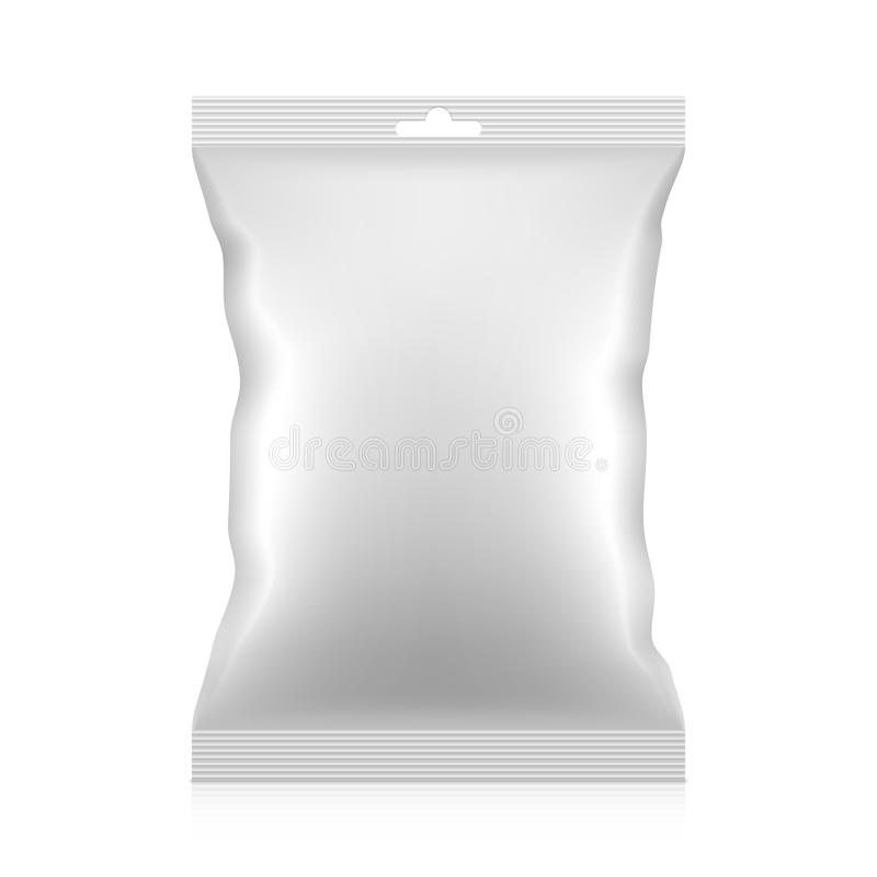 Blank snacks food foil packaging bag with hang tab. Vector. vector illustration