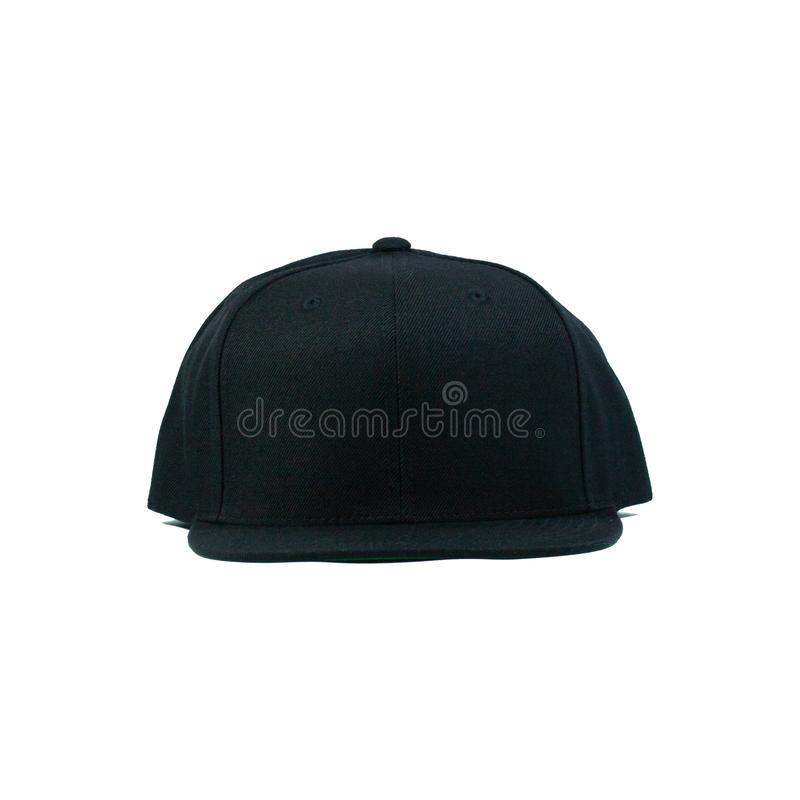 Blank snapback hat cap flat visor on white background isolated. Blank snapback hat cap flat visor with black color on white background isolated, ready for your royalty free stock photo