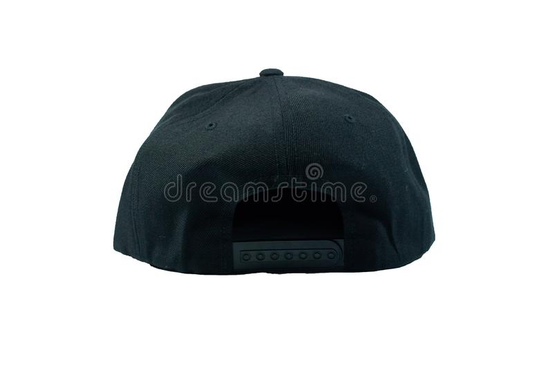 Blank snapback hat cap flat visor on white background isolated. Blank snapback hat cap flat visor with black color on white background isolated, ready for your stock photos