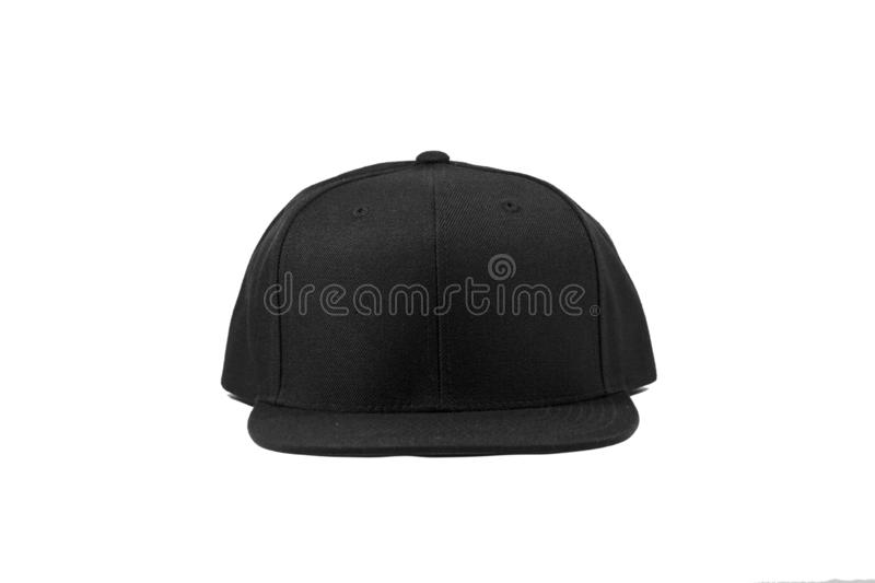 Blank snapback hat cap flat visor on white background isolated. Blank snapback hat cap flat visor with black color on white background isolated, ready for your royalty free stock images