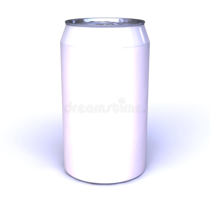 Blank soda can. Blank isolated aluminum can on white background useful for composition stock image
