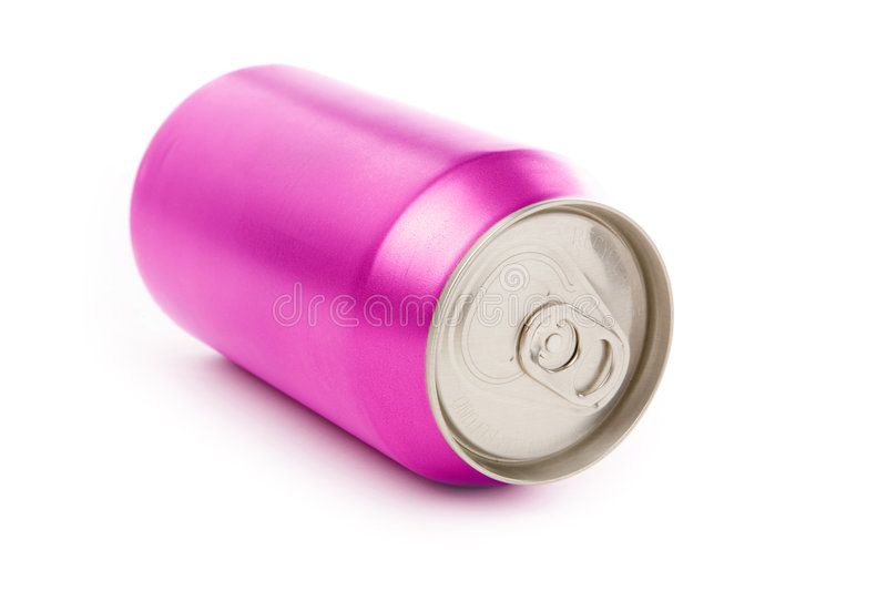 Blank soda can. Pink blank soda can with white background royalty free stock photos