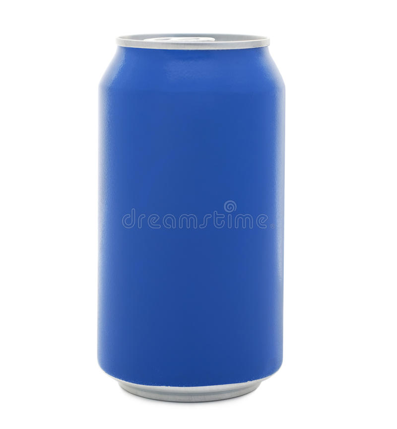 Blank Soda Can. Isolated blank blue soda can on a white background stock photography