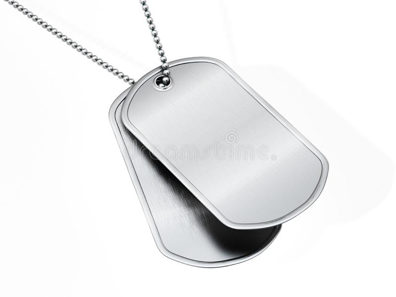 Blank soldier dogtags isolated on white background. 3D illustration royalty free illustration