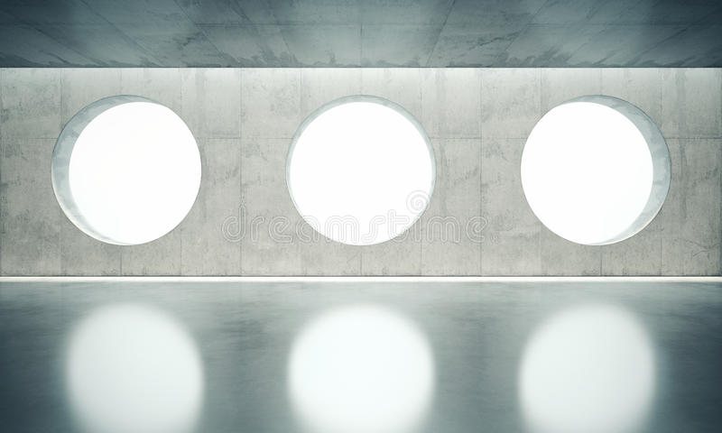 Blank space interior wall with white three windows stock illustration