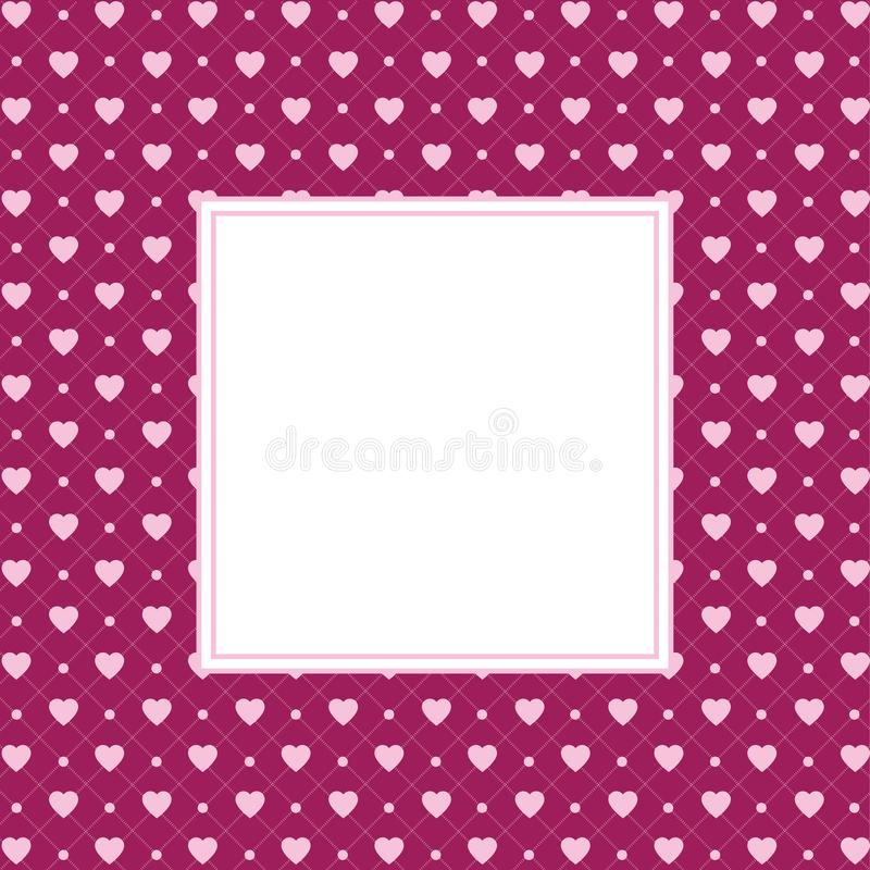 Hearts pattern background with frame in the shape of square for text. Valentine`s day and Mother`s day greeting card - label. Blank space in the space of square stock photography