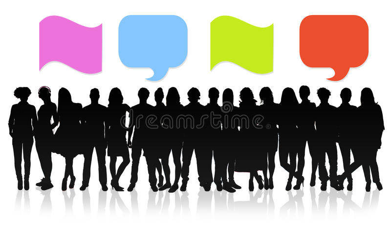 Blank speech bubbles, collage concept. Group of people with speech bubbles royalty free illustration