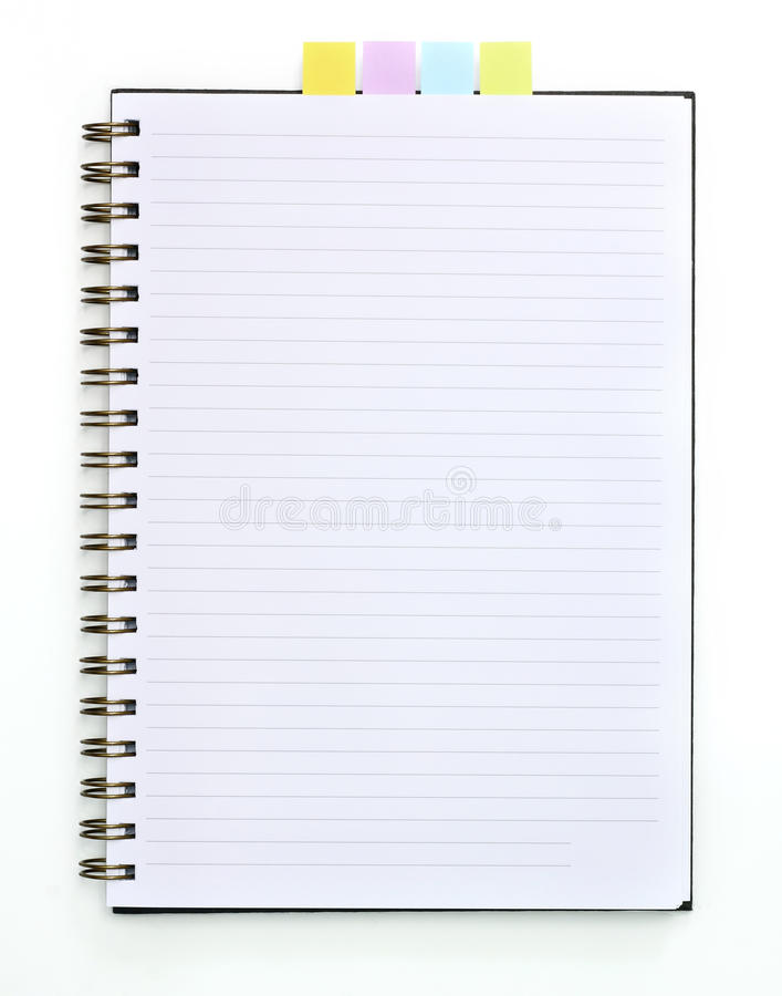 Blank spiral book with note paper