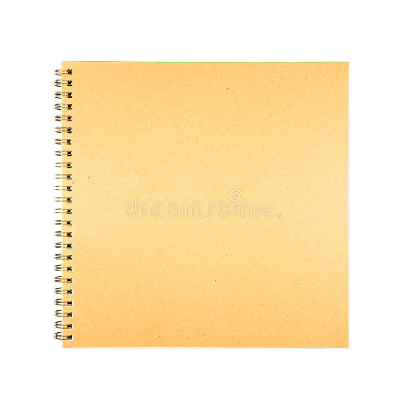 White Book Cover Paper : Blank spiral brown cover book paper stock photo image