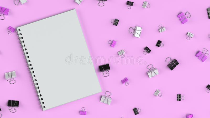 Blank spiral notebook with black, white and purple binder clips on purple table. Business, education or office mockup. 3D rendering illustration vector illustration