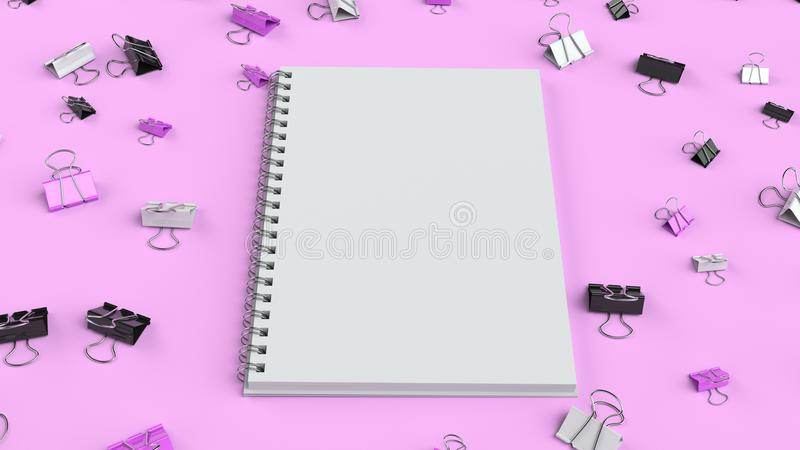Blank spiral notebook with black, white and purple binder clips on purple table. Business, education or office mockup. 3D rendering illustration royalty free illustration
