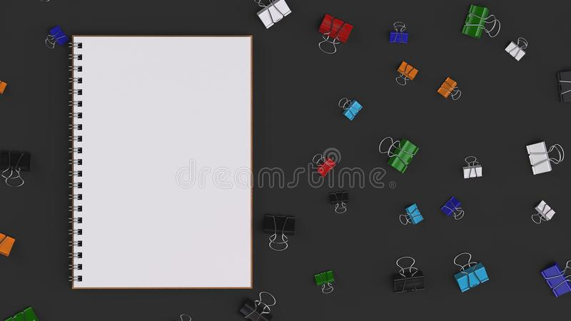 Blank spiral notebook with colorful binder clips on black table vector illustration