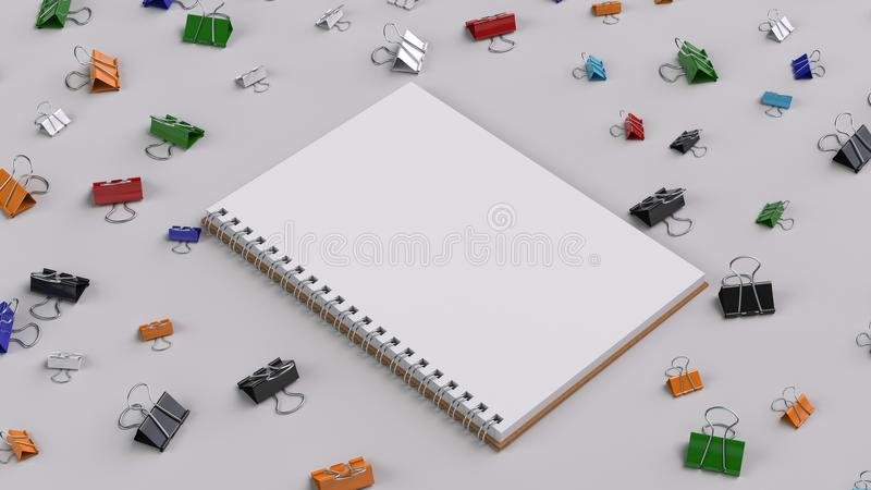 Blank spiral notebook with colorful binder clips on white table. Business, education or office mockup. 3D rendering illustration vector illustration