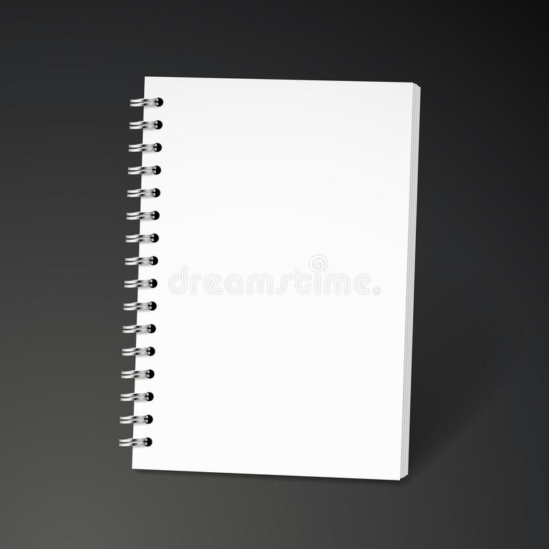 Blank spiral notebook. Isolated on black background vector illustration