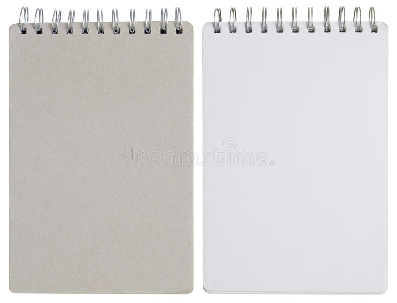 Blank spiral notebook isolated on white royalty free stock photos