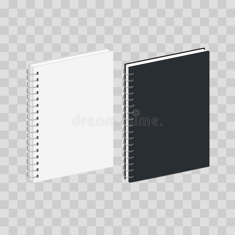 Blank Spiral Notebook Template. Black and white covers. Isometric view, isolated on transparent checkered. Vector mock. Up royalty free illustration