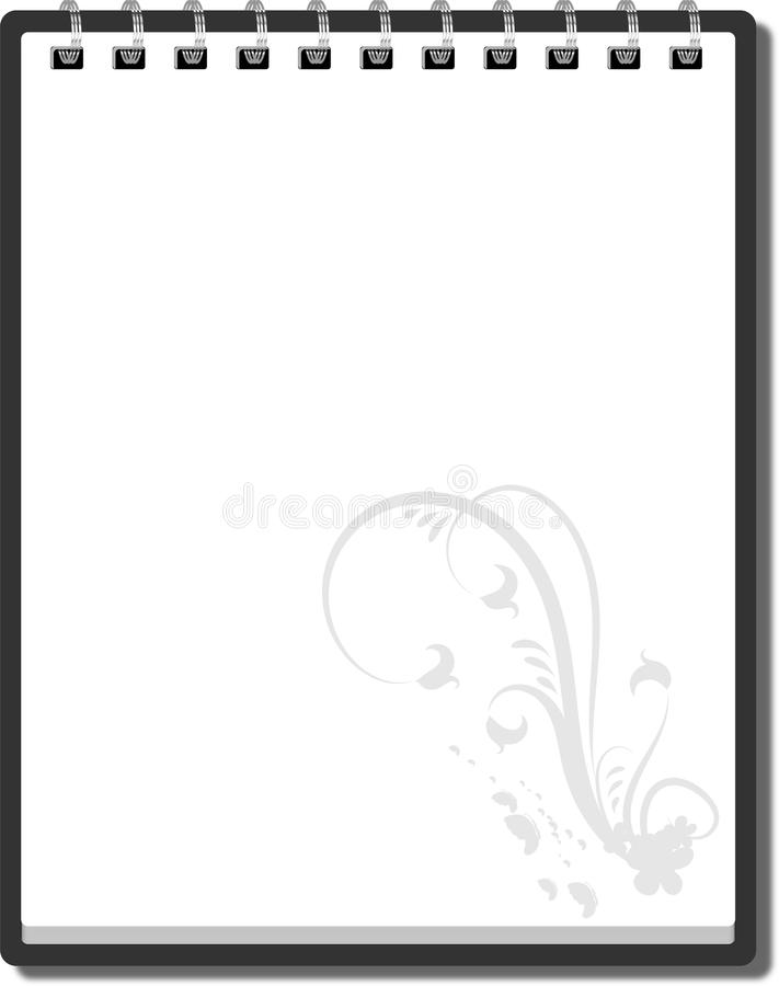 Blank spiral notebook on white background with soft shadows.  stock illustration