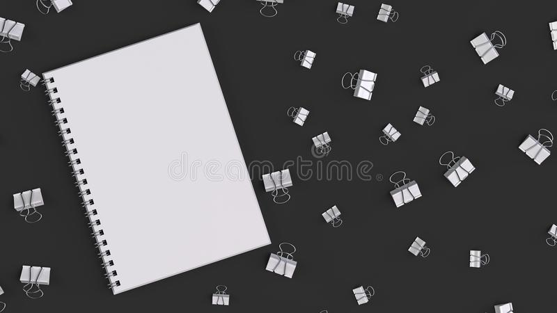 Blank spiral notebook with white binder clips on black table. Business, education or office mockup. 3D rendering illustration vector illustration