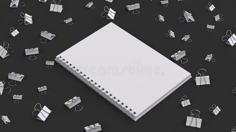 Blank spiral notebook with white binder clips on black table. Business, education or office mockup. 3D rendering illustration stock illustration