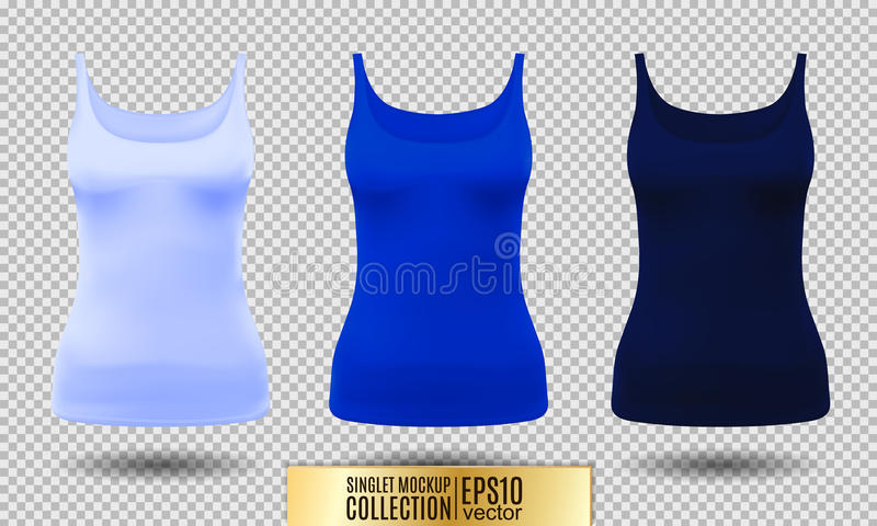 Blank sport tank top for women template set. royalty free illustration