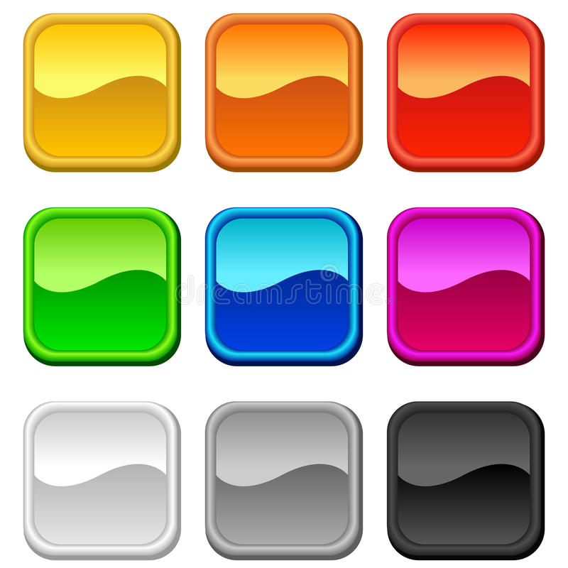 Blank square buttons stock illustration