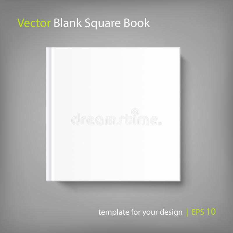 Blank square cover book template on grey background stock for Book cover template illustrator