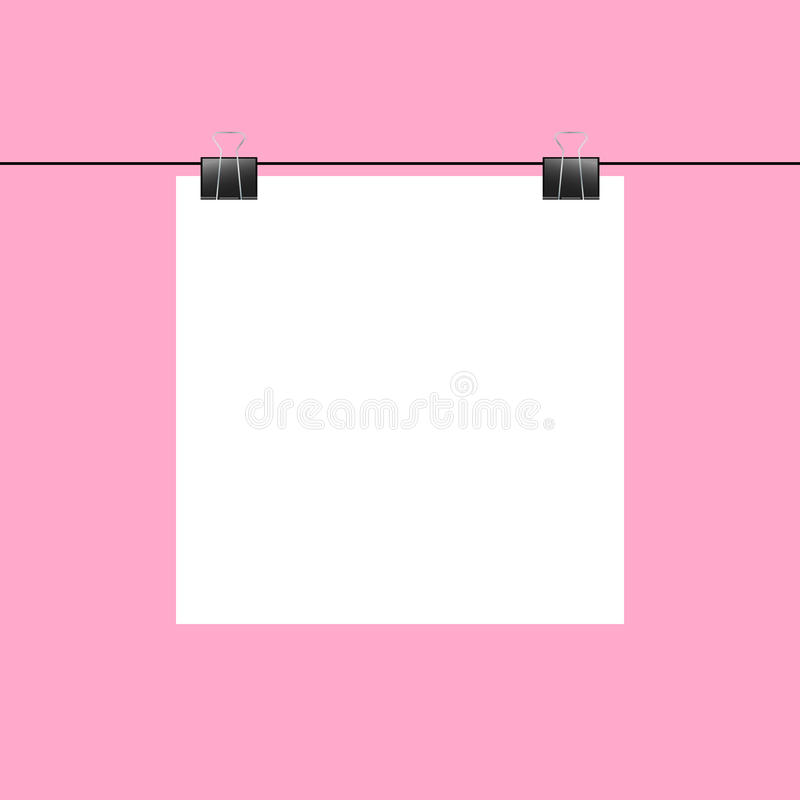 Free Blank Square Paper Hanging On Two Paper Clips Royalty Free Stock Image - 60503846