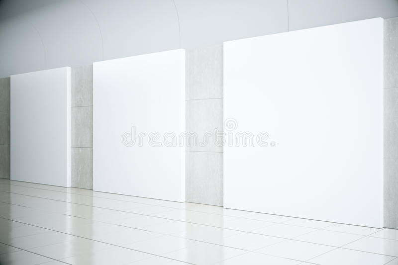 Blank square posters in empty hall, mock up stock illustration