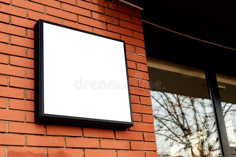 Blank square signboard, business light up sign mock up royalty free stock photography
