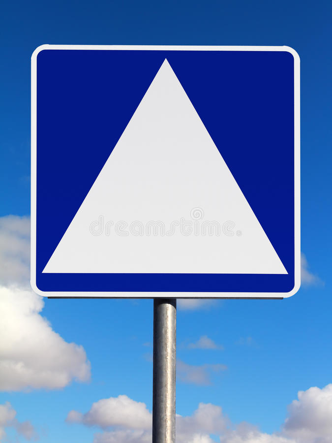 Blank square with white triangle traffic sign