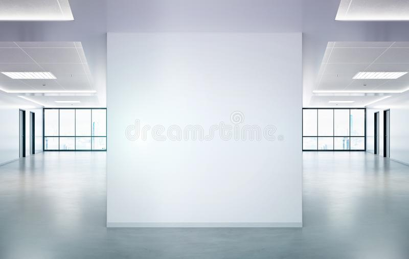 Blank squared wall in office mockup with large windows and sun passing through 3D rendering royalty free stock photos