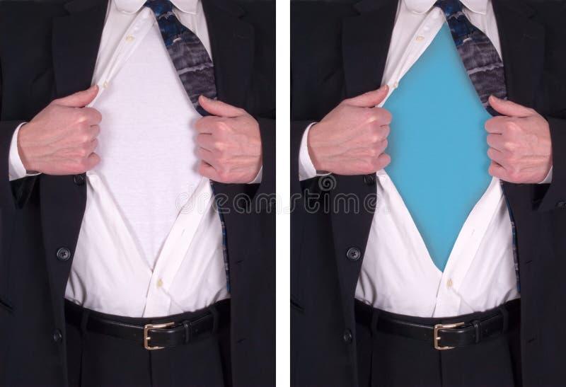 blank stålman för begreppsskjortasuperhero royaltyfri fotografi