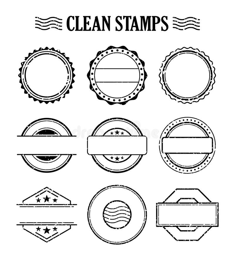 Blank stamp set, ink rubber seal texture effect vector illustration