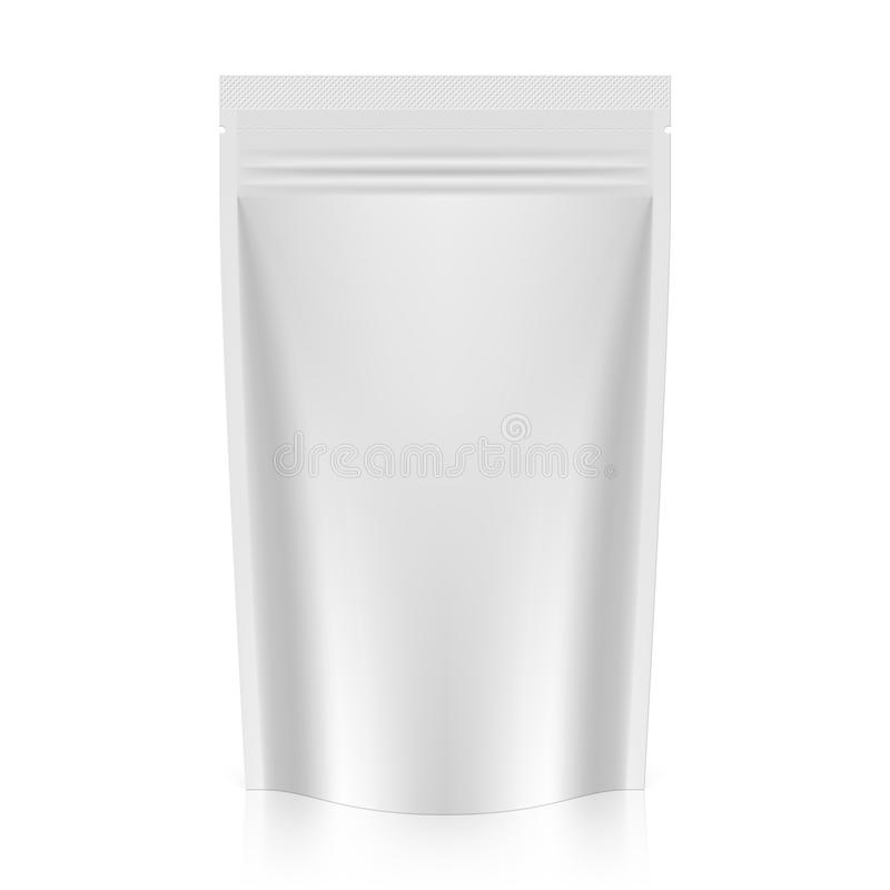 Blank stand up pouch foil or plastic packaging with zipper stock illustration
