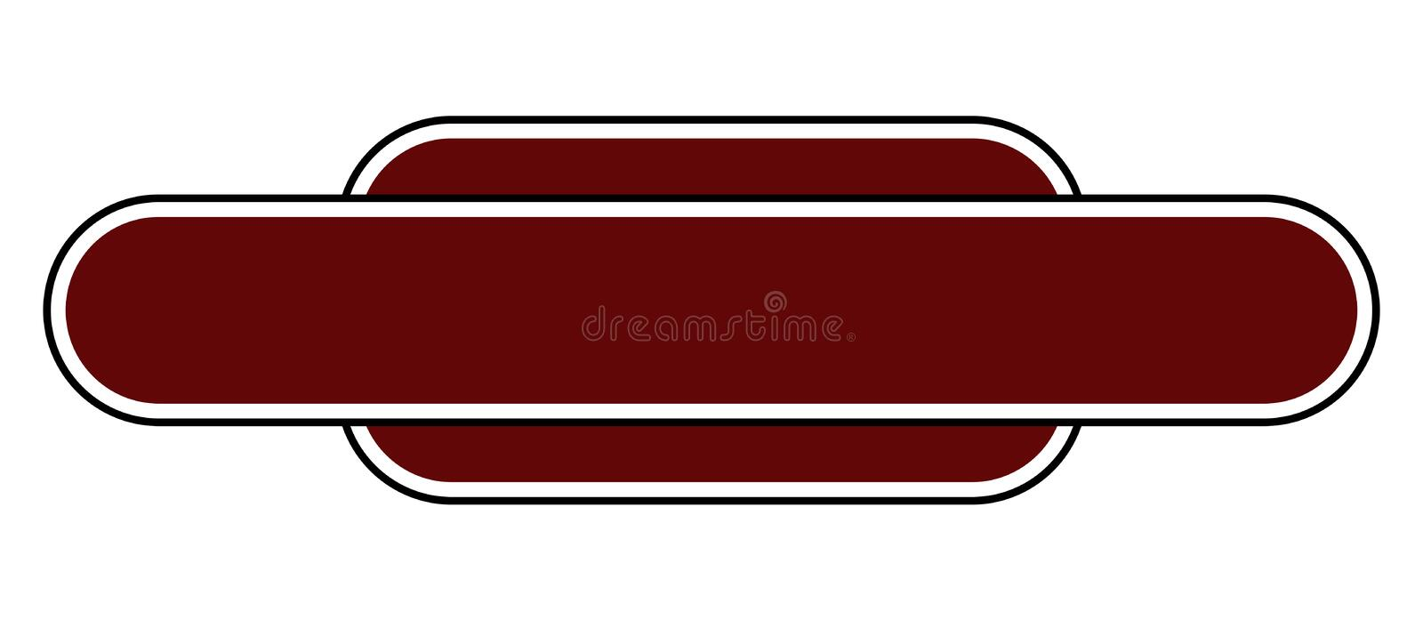 Blank Station Name Sign. A blank station name plate over a white background stock illustration