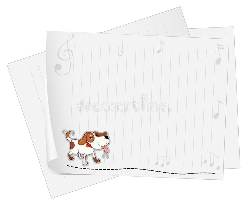 A blank stationery with an animal and musical symbols. Illustration of a blank stationery with an animal and musical symbols on a white background stock illustration