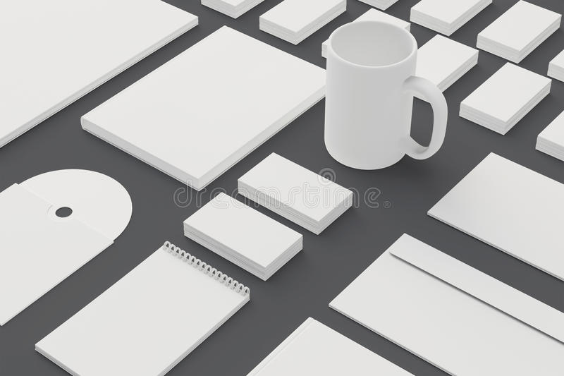 Blank Stationery and Corporate ID Template isolated on grey. Consist of Business cards, letterhead a4, envelopes, folder, notes, book, mug vector illustration