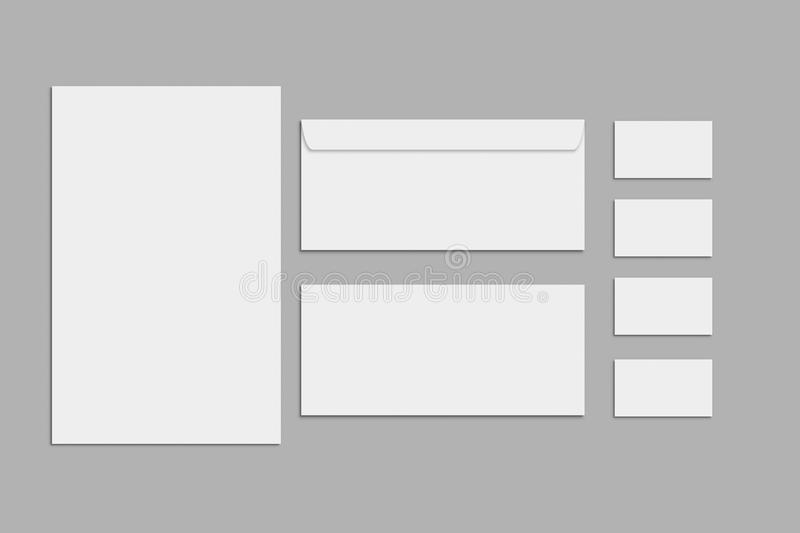 Blank stationery and corporate identity set on grey background. Branding Mock-Up. Blank stationery and corporate identity set on grey background. Template for stock images