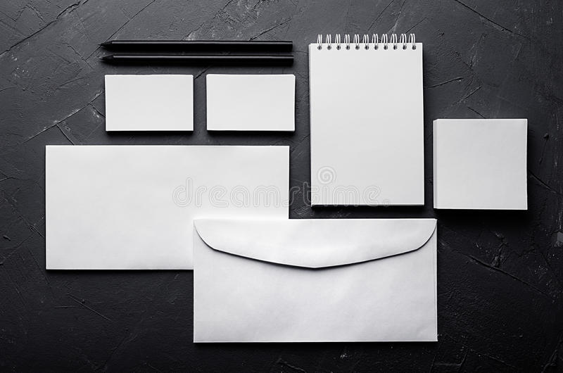 Blank stationery on elegant dark grey concrete texture. Corporate identity template. Mock up for branding, graphic designers prese royalty free stock photo