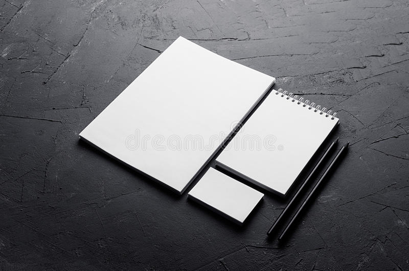 Blank stationery on elegant dark grey concrete texture. Corporate identity template. Mock up for branding, graphic designers prese. Ntations and portfolios. Top royalty free stock photography