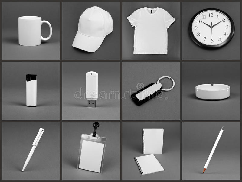 Blank stationery set for corporate identity system on gray background. royalty free stock image