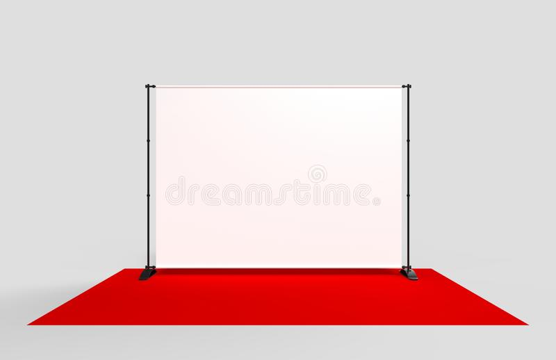 Blank Step and Repeat Telescoping Backdrop Banner. 3d render illustration. Blank Step and Repeat Telescoping Backdrop Banner. 3d illustration stock illustration