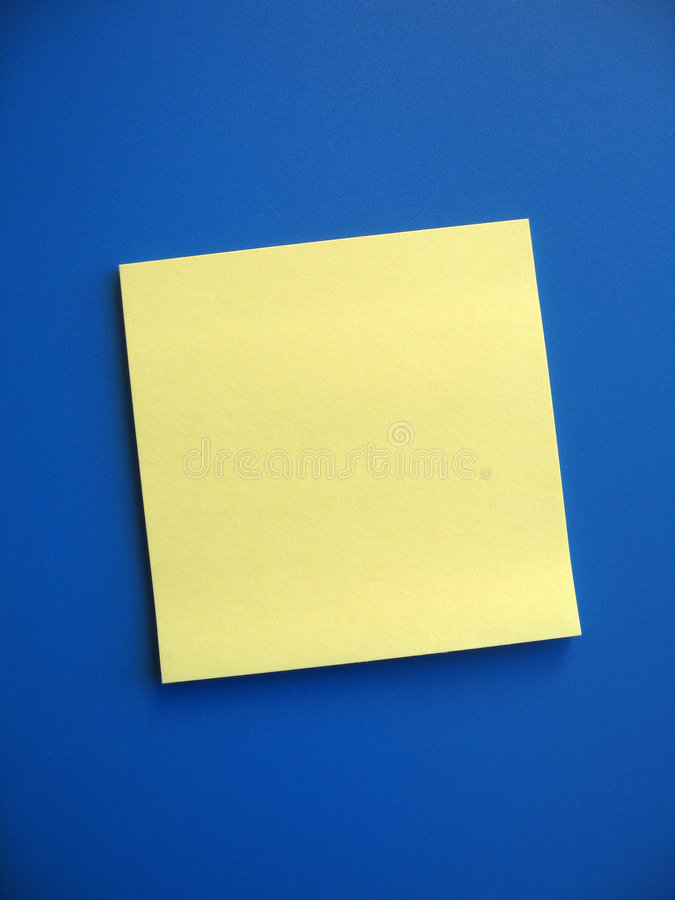 Blank Sticky Note. A blank yellow note on blue background. Add your own message royalty free stock photo