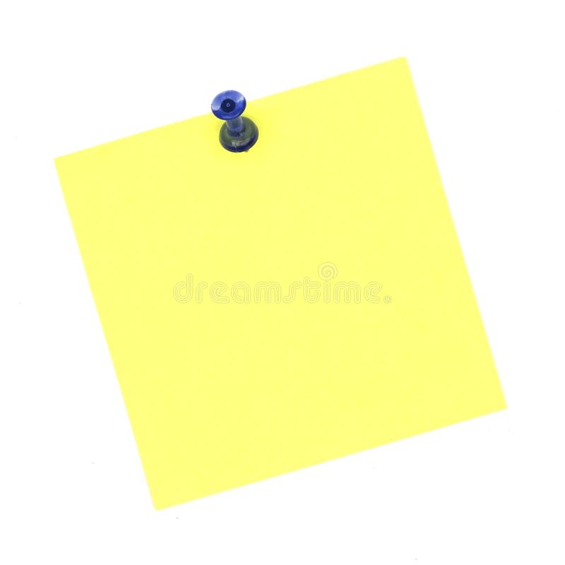 Blank sticky note with blue push pin on white. Blank sticky note with blue push pin isolated on white stock images
