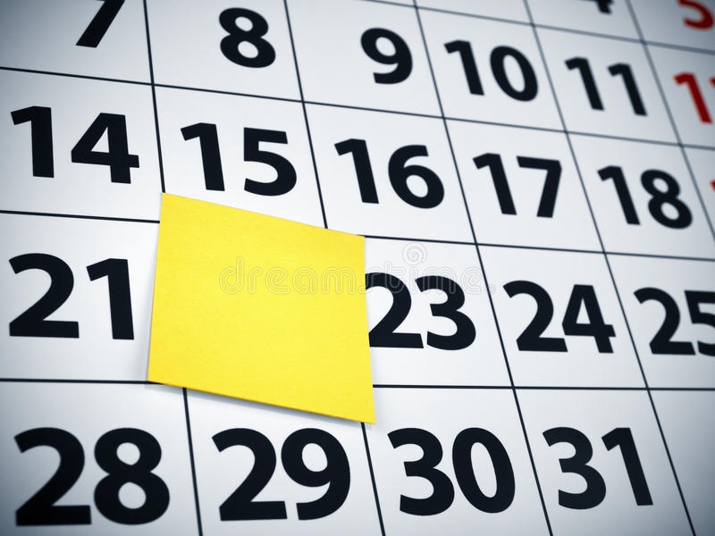 Download Blank Sticky Note On A Calendar Stock Photo - Image: 12933996