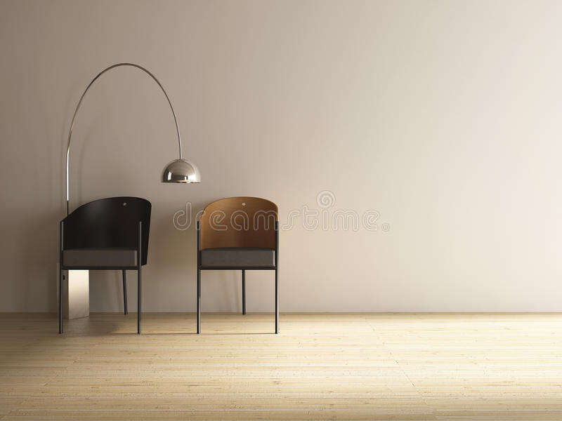 blank stolsframsida som är modern till vägg två fotografering för bildbyråer