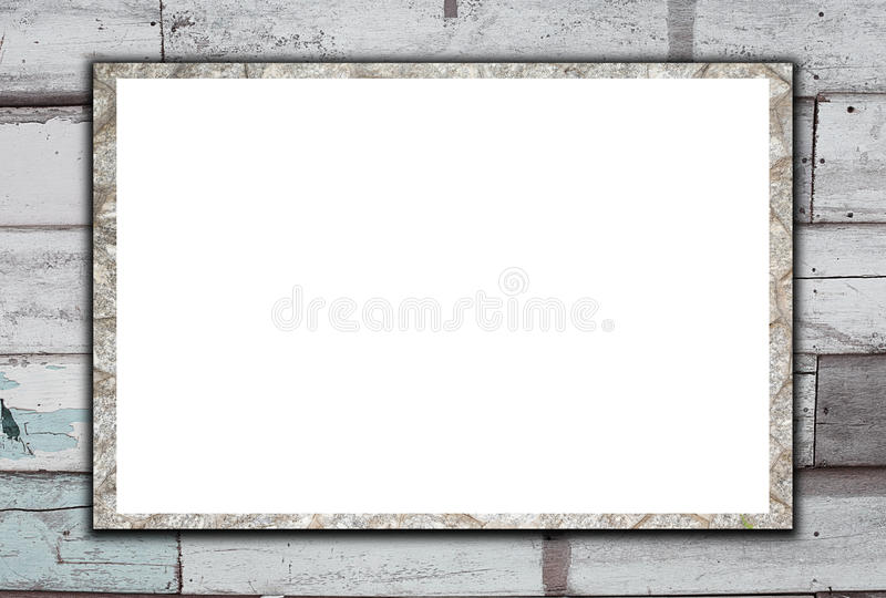 Blank stone billboard on Old Wood Background. royalty free stock images