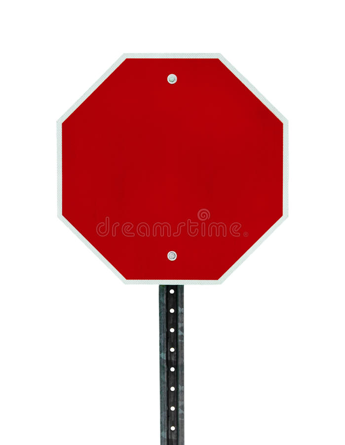 Blank Stop Sign. Photograph of a blank red traffic stop sign with all text letters removed. Surface grid pattern has be left intact. Isolated on a white stock image