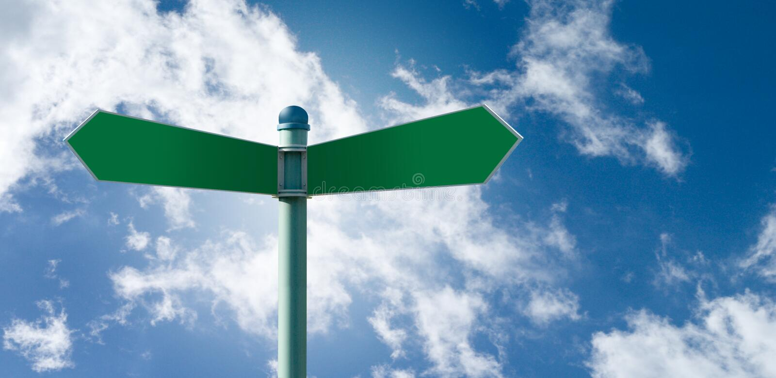 Blank street sign post with 2 signs. Customizable green street sign on a blue cloudy sky stock image